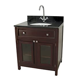 Elite Home Fashions Celebrity Collection Bathroom Vanity with Faucet Set, Espresso