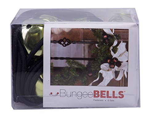 "Christmas Holiday Metallic Jingle Bell Decoration Fasteners - Set of 6 1.25"" Metallic Bells with Bungee Cord (Metallic Green)"