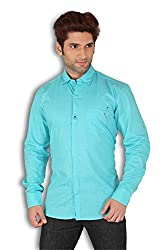 Kivon Men's Blue Plain Slim Fit Casual Shirt
