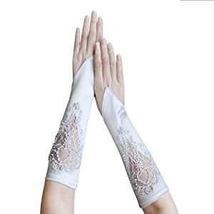 ZaZa Bridal Satin Fingerless Gloves w/ Floral Embroidery Lace