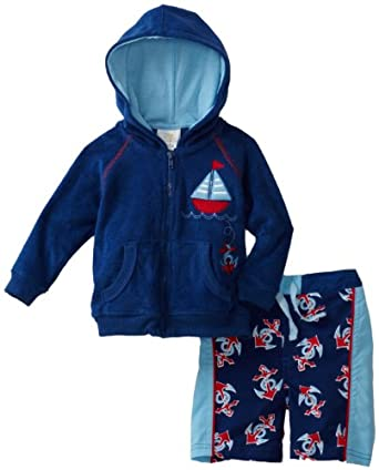 ABSORBA Baby-Boys Boys Nautical Swim Trunks and Terry Coverup Set, Royal, 3/6