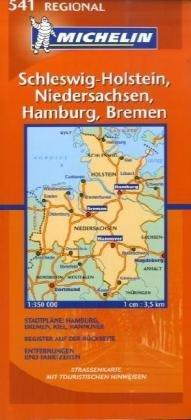 Schleswig-Holstein, Niedersachsen, Hamburg, Bremen (Michelin Regional Maps) (German Edition)