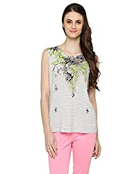 Bedazzle Casual Short Sleeve Floral Print Women's White Top