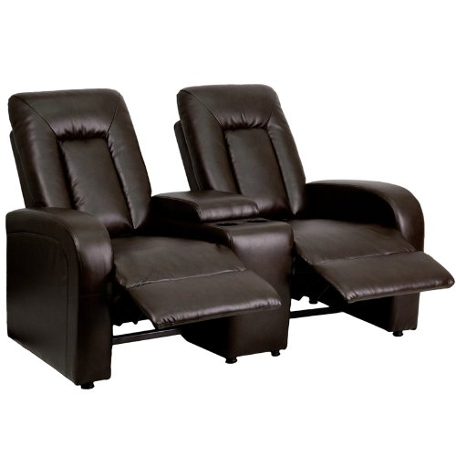 Flash furniture 2 seat brown leather home theater recliner with storage console my home Home theater furniture amazon