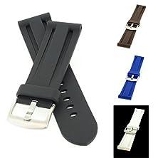 buy Perfit® Panerai Style Watch Band + Spring Bars, Premium Pu Rubber, Black, 22 Mm