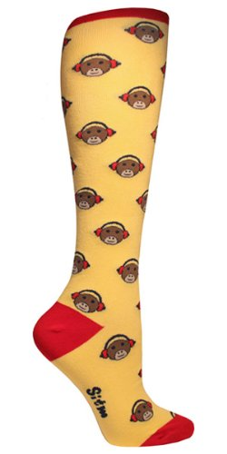 Sock It To Me Womens Juniors MONKEYS Knee Socks - Yellow, One Size