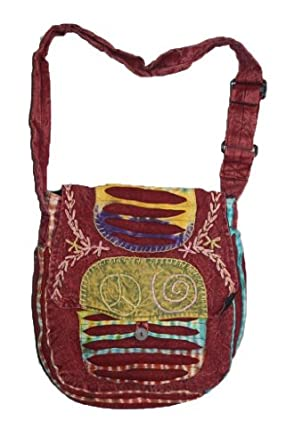 AT- 121 PATCHWORK HANDMADE COTTON BOHEMIAN BOHO SLITWORK YOGA BAG PURSE SATCHEL TOTE