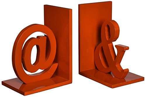 Urban Trends 40206-UT Decorative Wooden at& Bookend Set of Two Orange