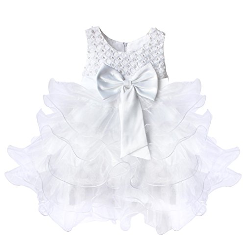 TIAOBU Baby Girls Flower Wedding Pageant Princess Bowknot Communion Party Dress White 3-6 Months