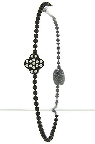 Trendy Fashion Jewelry Crystal Lined Clover Accent Bracelet By Fashion Destination | (Clear/Black)