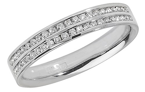 Diamond Two Row Wedding Ring 18ct White Gold 0.22ct