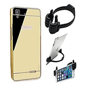 Aart Luxury Metal Bumper + Acrylic Mirror Back Cover Case For OppoF-1 Gold+ Flexible Portable Mount Cradle Thumb OK Designed Stand Holder By Aart Store.