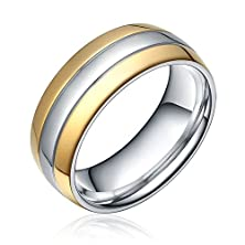 buy 8Mm Couples Matching Set Jewelry Two Tone Comfort Fit Silver Gold Polished Dome Titanium Band Ring Women Men Unisex(7)