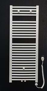 Elektro Badheizkörper weiss gebogen 1200 x 450 mit 400 Watt Heizstab Heizpatrone elektrisch Bad Heizkörper Handtuchwärmer