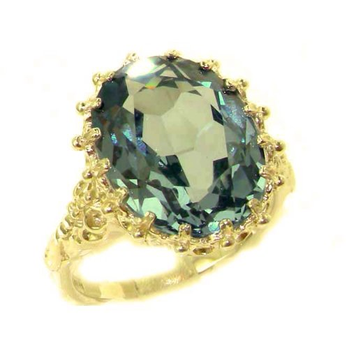 Luxury Solid 14K Yellow Gold Large 16x12mm Oval 10ct Synthetic Aquamarine Ring - Size 9.75 - Finger Sizes 5 to 12 Available - Perfect Gift for Birthday, Christmas, Valentines Day, Mothers Day, Mom, Mother, Grandmother, Daughter, Graduation, Bridesmaid.