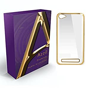 Azzil Gold Soft Silicone Case Back Cover for Reliance LYF Flame 1 (Transparent)
