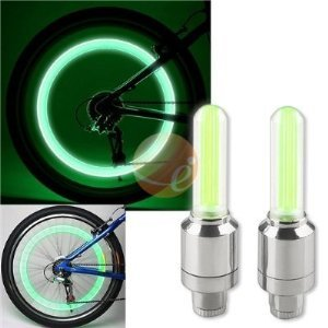 2PCS Green LED Flash Tyre Wheel Valve Cap Light for Car Bike bicycle Motorbicycle Wheel Light Tire Light