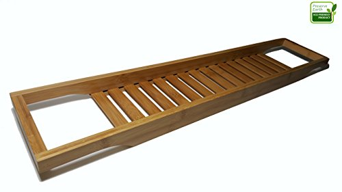 Premium bathtub caddy made from 100 bamboo this bath for Bathroom tray for toiletries