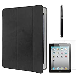DMG Smart PU Leather Ultra Thin Trifold Book Cover Case For Apple iPad 2 / 3 / 4 (Black) + Matte Screen + Stylus