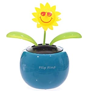 Solar Powered Flip-Flap Sunflower - COLOURS VARY - BLUE, GREEN, ORANGE or PINK