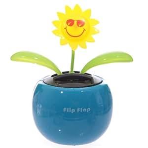 Solar Powered Flip-Flap Sunflower - COLOURS VARY - BLUE, GREEN, ORANGE or PINK
