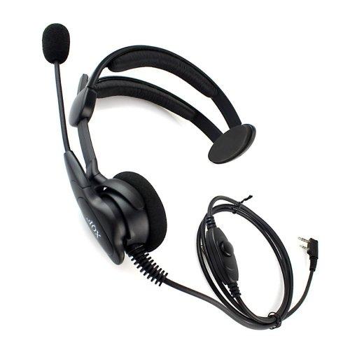 Advance Adjustable Overhead Earpiece Headset Boom Mic Microphone Noise Cancelling For 2-Pin Kenwood Nexedge Hytera Puxing Wouxun Radio