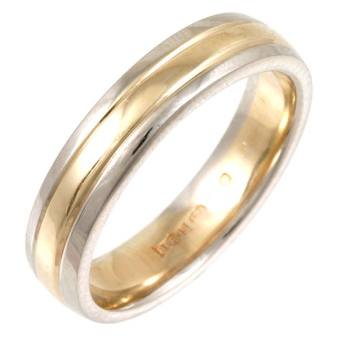 Wedding Ring, 9 Carat Yellow  &  White Gold Court Shape, 5mm Band Width
