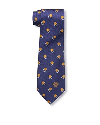 Versace Men's Patterned Silk Tie, Blue/Yellow Dot