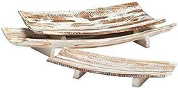 Benson Trays Set Of 3, SET OF 3, AGED WOOD WITH WHITE WASH