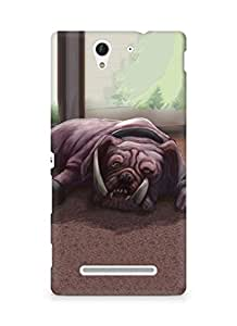 Amez designer printed 3d premium high quality back case cover for Sony Xperia C3 D2502 (Art dog bulldog canine room floor lying)