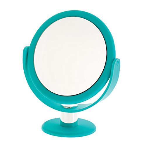 Danielle Enterprises Soft Touch 10X Magnification Round Vanity Mirror, Blue front-231672