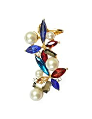 Via Mazzini Multicolour Pearl Crystal Ear Cuff Earring (Left Ear Only)