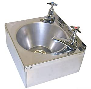 Stainless Steel Hand Wash Basin Sink, 2 Taps, Waste and Plug: Amazon ...