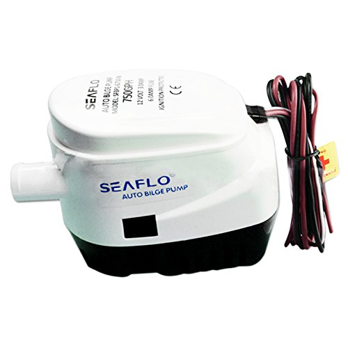 Seaflo 12V 750GPH Automatic Electric Submersible Bilge Pump for Pumping Water out of Boats Tanks Ponds Pools Spas - Built-in Float Switch