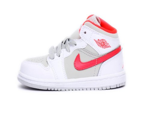 Nike Air Jordan 1 Toddler Basketball Shoes, White/Bright Crimson front-1056625