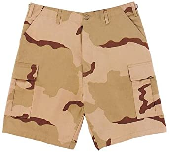 Camouflage Cargo Shorts, Tri-Color Camo, Large
