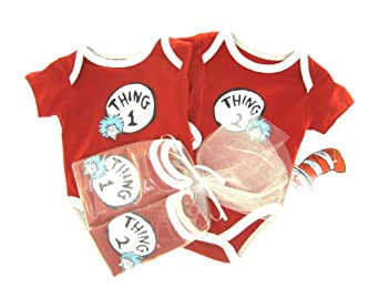 Thing 1 and Thing 2 Newborn Onesie Gift set. 3m