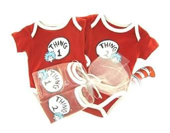 Thing 1 and Thing 2 Newborn Onesie Gift set. 3m