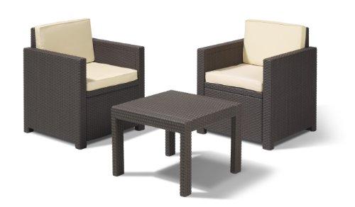 allibert 212129 lounge set victoria balcony set rattanoptik kunststoff braun exclusive. Black Bedroom Furniture Sets. Home Design Ideas