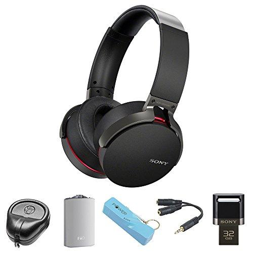 Sony XB950BT Extra Bass Bluetooth Headphones - Black (MDRXB950BT/B)with HardBody Sized Headphone Case, A3 Port. Headphone Amplifier, 2600mAh Port. Keychain Power Bank, Splitter & 32GB Flash Drive