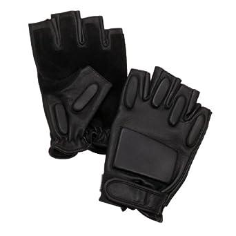 Black Fingerless Tactical Rapelling Gloves - S