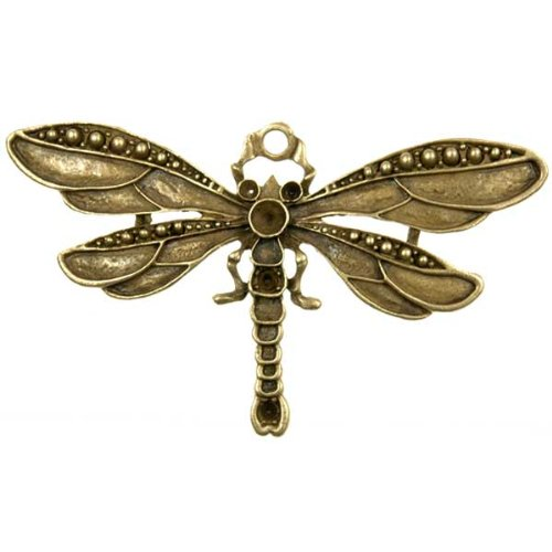 5pcs Antique Brass Vintage Bronze Dragonfly Charm Pendant 73.5x42x3.5mm U-TS6049