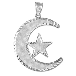 Sterling Silver Diamond-Cut Islamic Charm Crescent Moon and Star Pendant