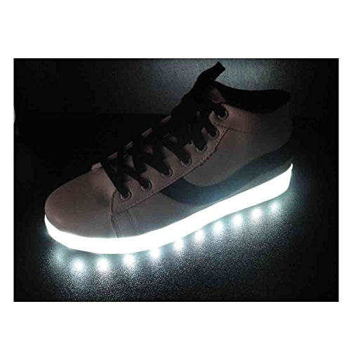 Deluxe Rechargeable LED Hi-Top Light-Up Sneakers - White with Black Stripe