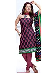 Exotic India Black And Cerise Choodidaar Kameez Suit With Woven Bootis A - Black