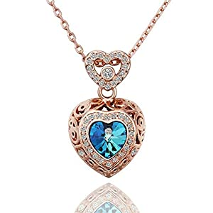 18K Rose Gold Plated Necklace Heart Attach To Heart Pendant Blue Crystal Elements - Adisaer