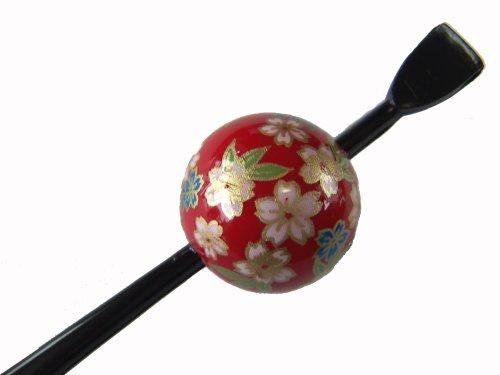 【お買得品】 京の玉かんざし(赤/小桜) 日本製