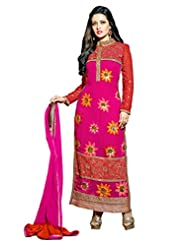 Aarti Saree Georgette Fashionable Party Wear Fancy Pink Suit
