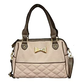Designer Inspired Twin Handled Fashion Handbag Nude Pink & Brown
