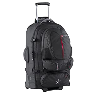 Sky Master 80L Wheeled Travel Pack/ Rucksack with Wheels (black)
